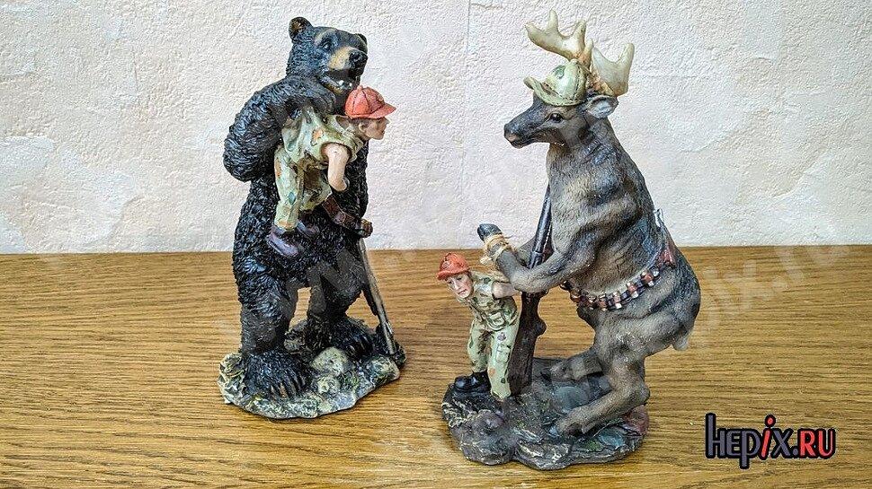 Фигурки Медведь-охотник, Олень-охотник