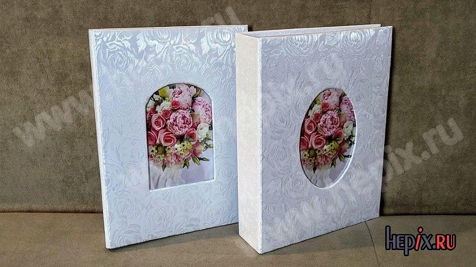 """Свадебные фотоальбомы с тканевой обложкой узор """"Розы"""""""