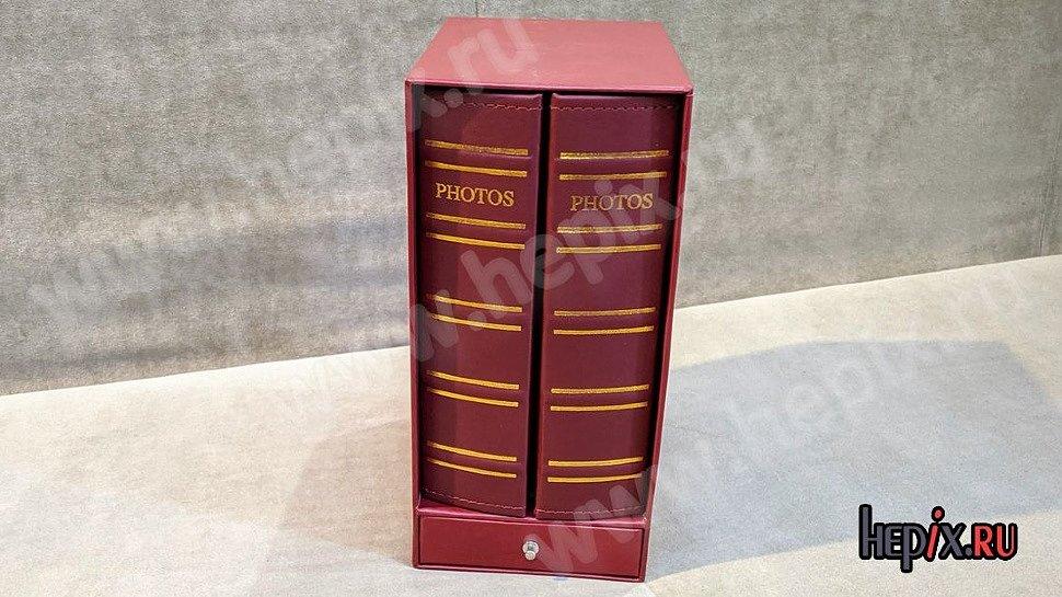 Фотоальбомы в виде библиотеки виниловые бордовые на 400 фото