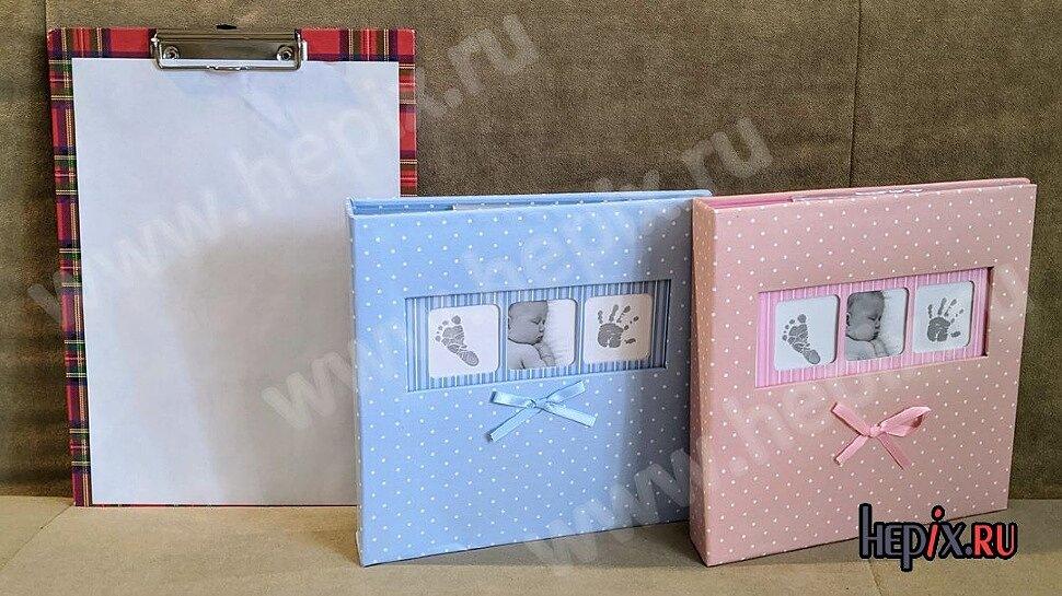 Детские фотоальбомы с кармашками и полями для подписей обложками в горошек и бантиком